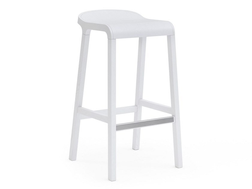 High ash stool with footrest LAYER | High stool by Billiani