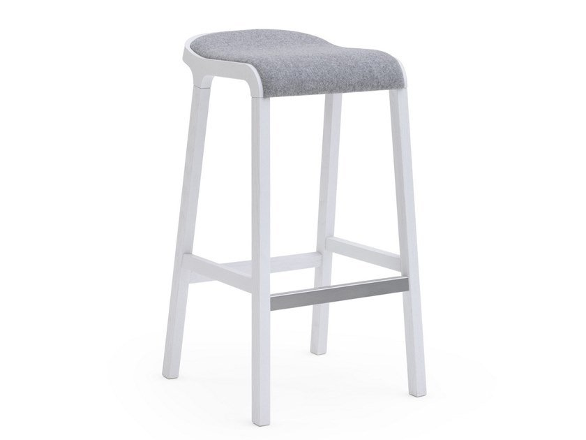 Ash stool with integrated cushion LAYER | Stool with integrated cushion by Billiani
