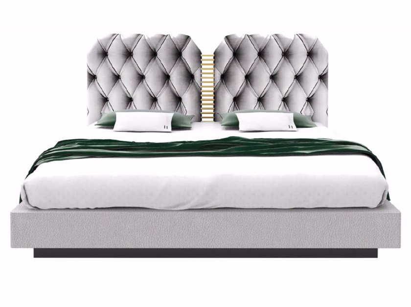 Leather bed double bed with tufted headboard LAYLA by HEBANON