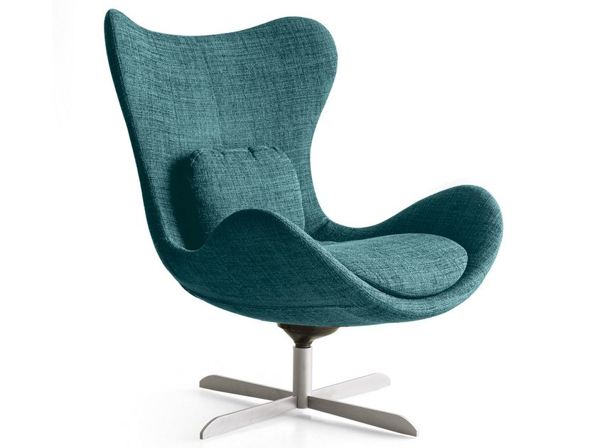 High-back fabric armchair with 4-spoke base LAZY | Armchair with 4-spoke base by Calligaris