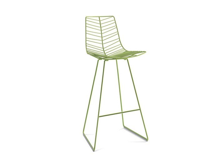 High sled base steel stool with footrest LEAF | Barstool by arper