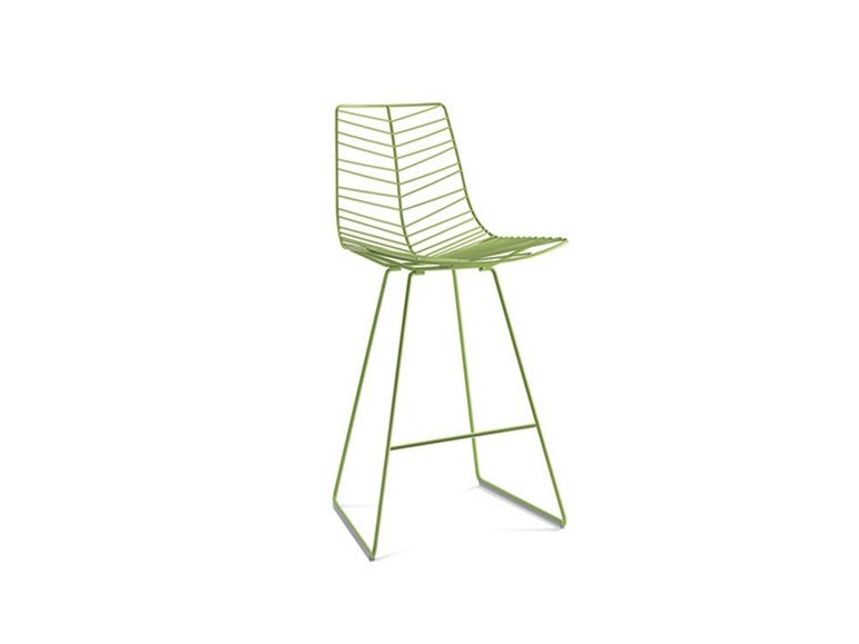 Sled base steel stool with back with footrest LEAF | Stool by arper