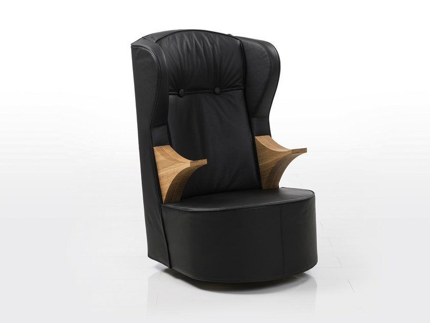 Swivel high-back leather armchair with armrests POEM   Leather armchair by brühl