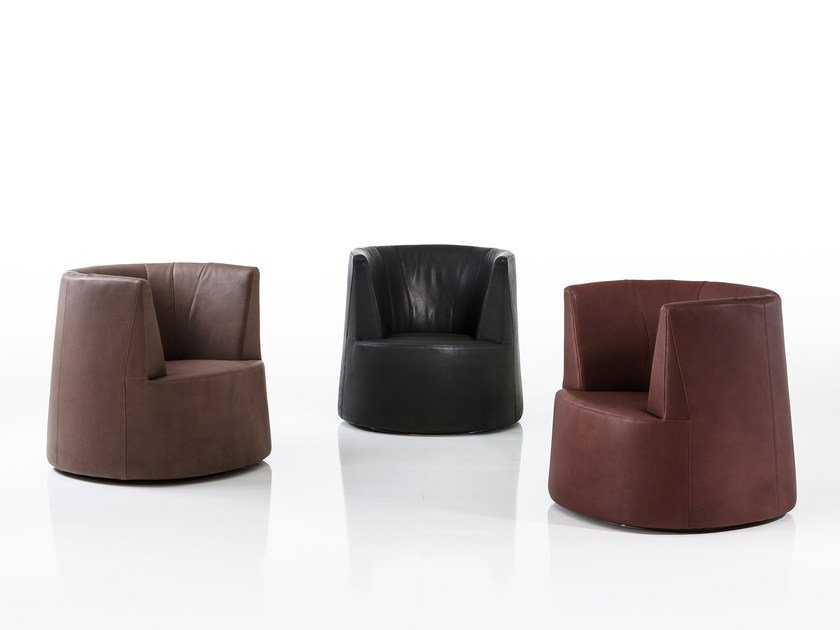 Leather armchair with armrests POWDER | Leather armchair by brühl
