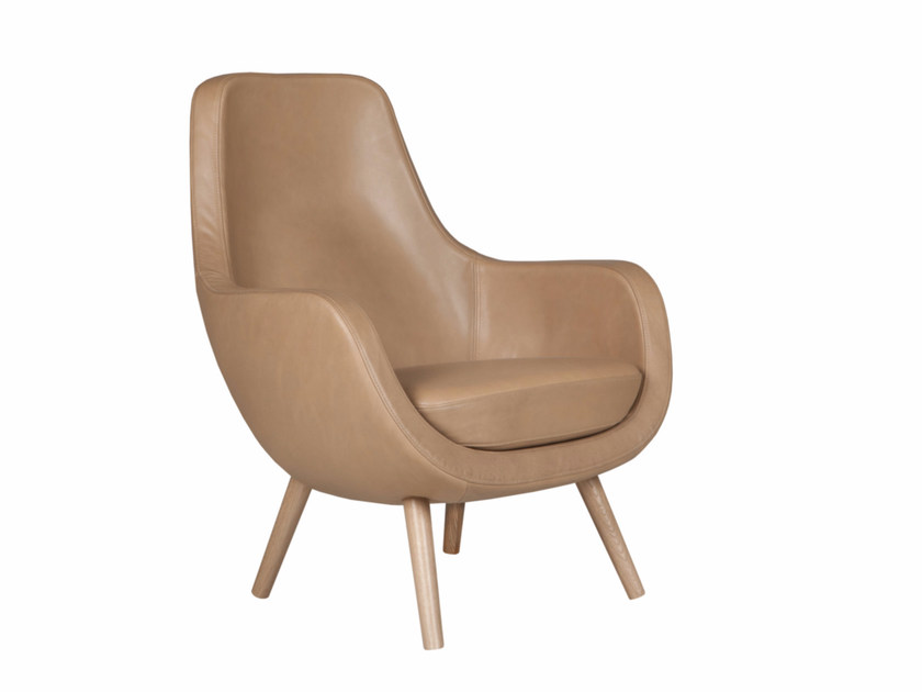 Upholstered leather armchair with armrests STEFANI | Leather armchair by SITS