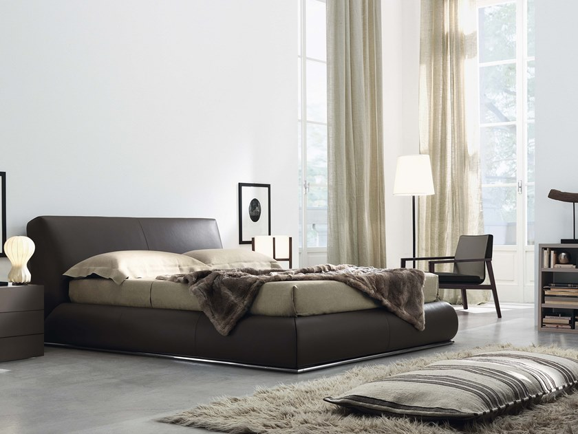 Leather bed with removable cover with upholstered headboard BALDO   Leather bed by JESSE