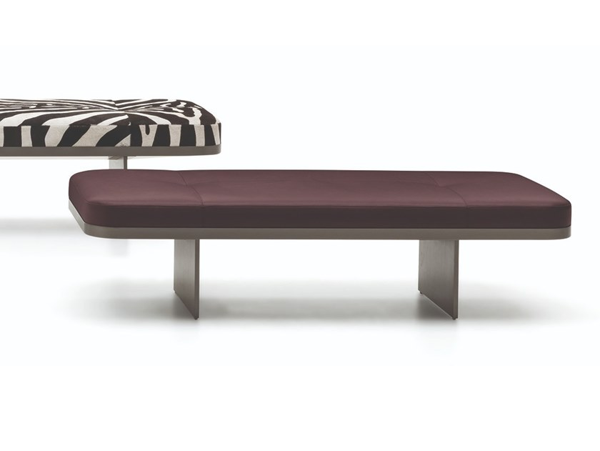 Upholstered leather bench CLIVE | Leather bench by Minotti