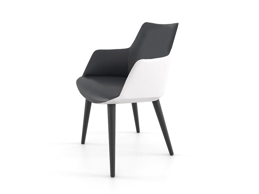 Upholstered leather chair with armrests DIVINA | Leather chair by ESTEL GROUP