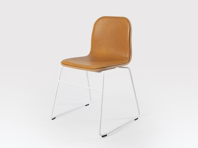 Sled base stackable leather chair JANE   Leather chair by Liqui Contracts