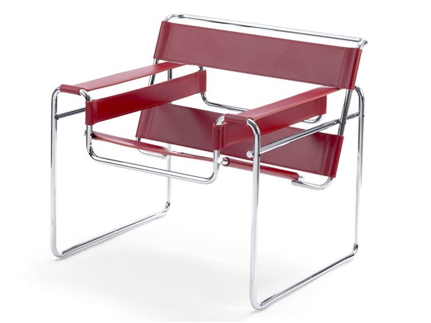 Poltroncina in pelle con braccioli WASSILY CHAIR by KNOLL