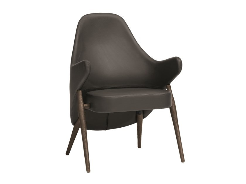 Leather easy chair with armrests LIV | CONTRACT | Leather easy chair by PIAVAL