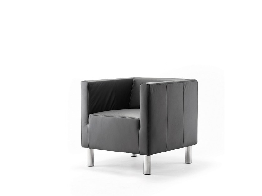 Leather easy chair with armrests ULTIMO | Leather easy chair by rosconi