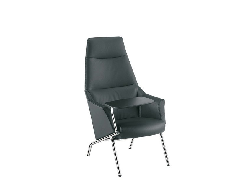 Leather guest chair high-back DAMA LOUNGE PLAIN   Easy chair high-back by Sesta
