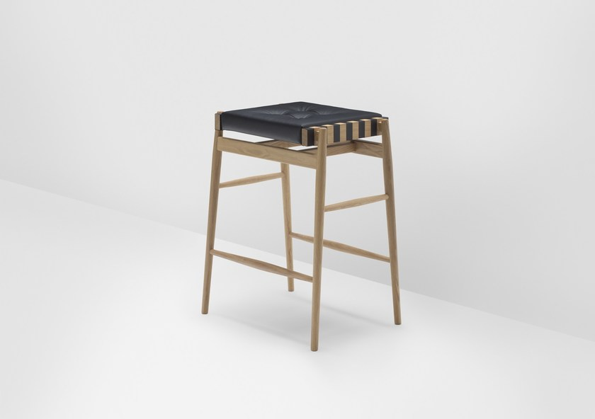 High upholstered oak stool with footrest LEATHER | High stool by H Furniture