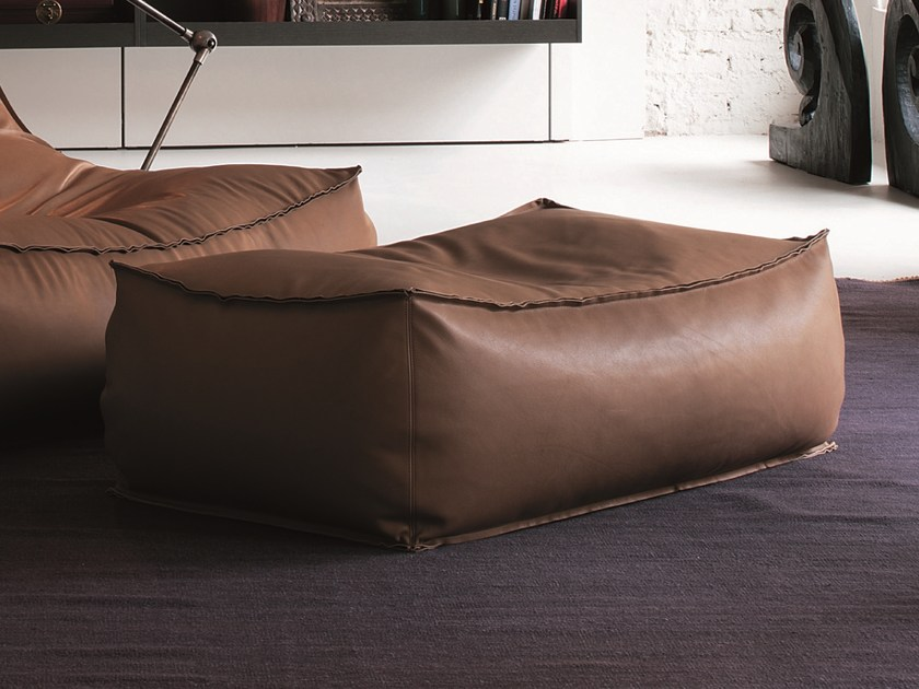 Rectangular leather pouf ZOE | Leather pouf by Verzelloni