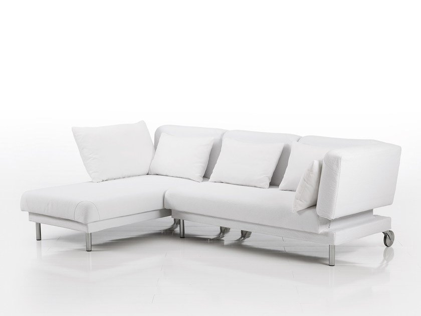 Leather sofa with chaise longue TAM | Leather sofa by brühl