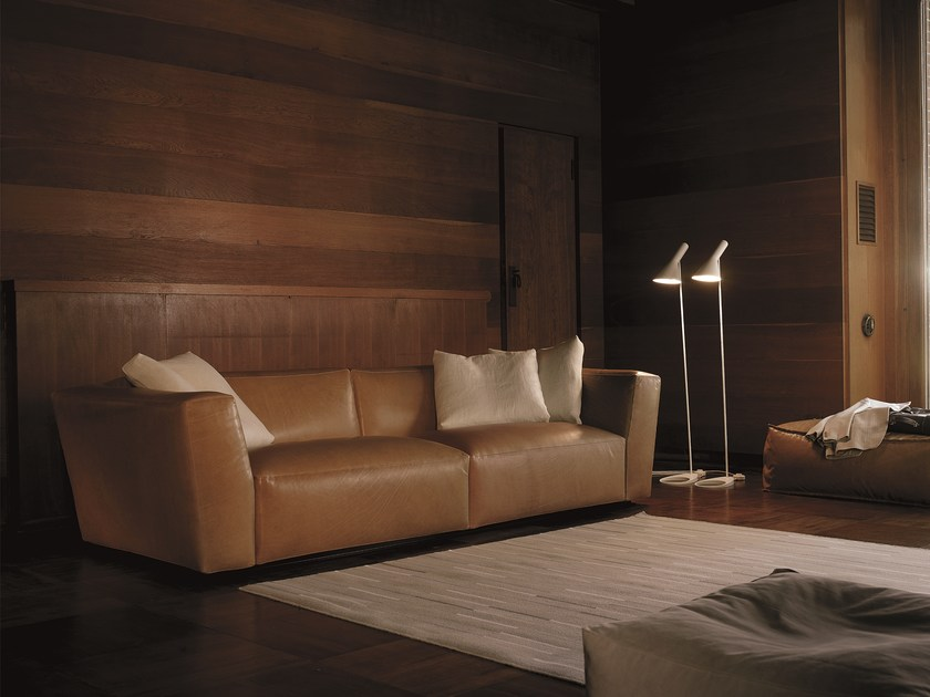 Sectional leather sofa with removable cover ELLIOT | Leather sofa by Verzelloni