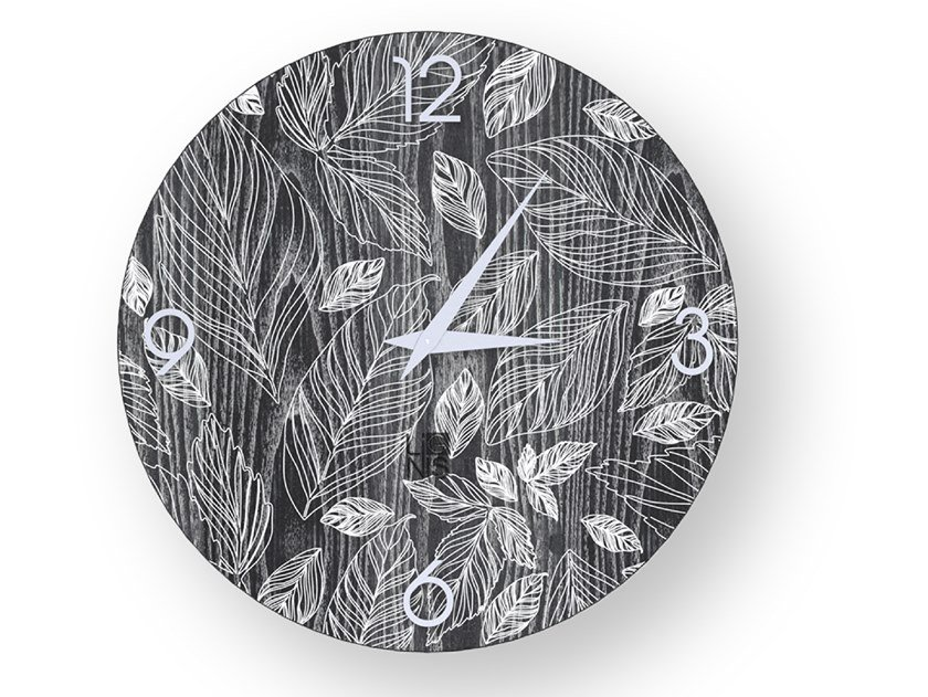 Wall-mounted wooden clock LEAVES COLD | Clock by LIGNIS®