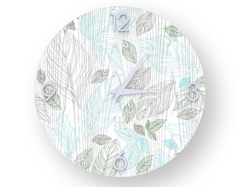 Wall-mounted wooden clock LEAVES COLORS | Clock by LIGNIS®