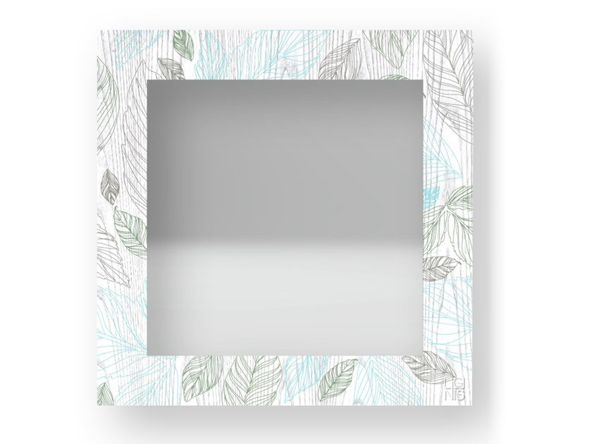 Square wall-mounted framed mirror LEAVES COLORS | Mirror by LIGNIS®