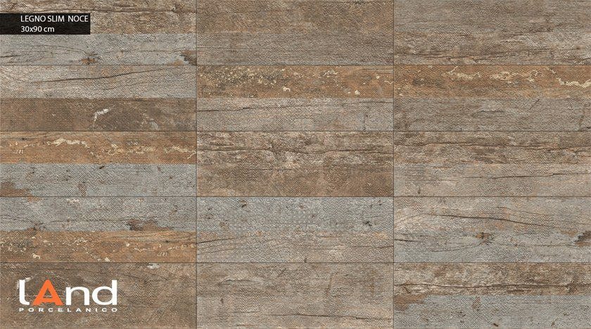 Technical porcelain wall tiles with wood effect LEGNO SLIM NOCE by Land Porcelanico