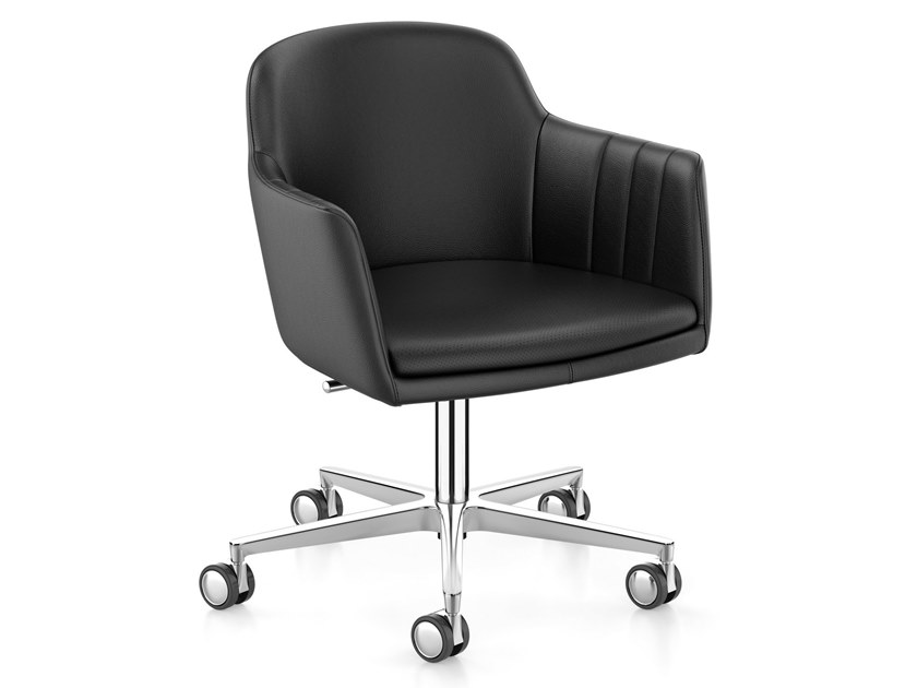 Height-adjustable leather task chair with 5-Spoke base LEMON IS5 LM755 by Interstuhl