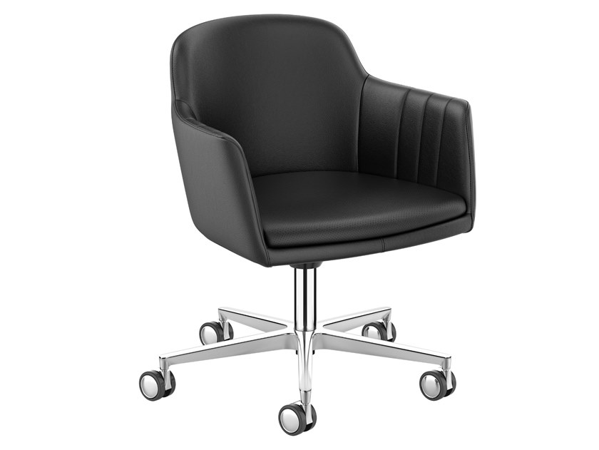 Leather task chair with 5-Spoke base LEMON IS5 LM750 by Interstuhl