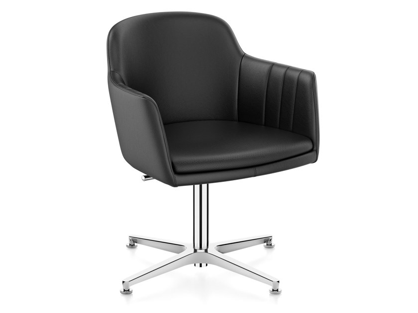 Height-adjustable leather task chair with 4-Spoke base LEMON IS5 LM745 by Interstuhl