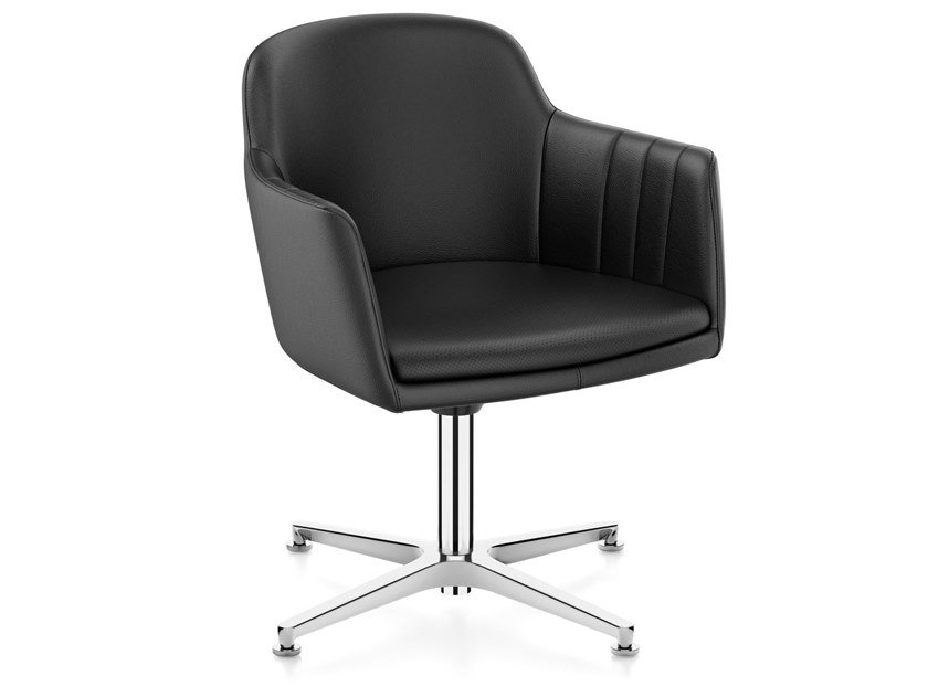 Leather task chair with 4-Spoke base with armrests LEMON IS5 LM740 | Leather task chair by Interstuhl