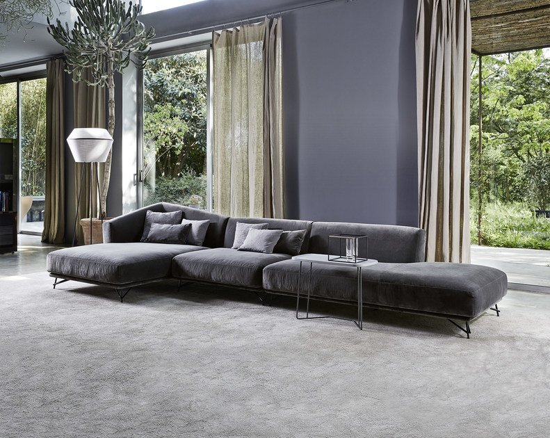 Upholstered fabric sofa with chaise longue LENNOX | Sofa with chaise longue by Ditre Italia
