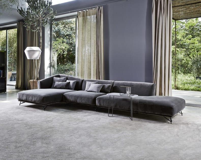 Divano imbottito in tessuto con chaise longue LENNOX | Divano con chaise longue by Ditre Italia