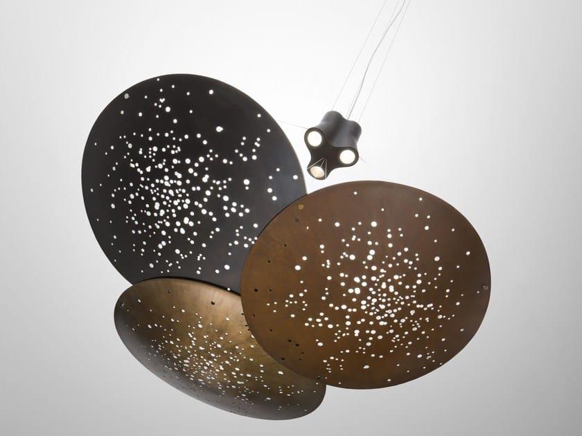 LED metal pendant lamp LENS F46 3x by Fabbian