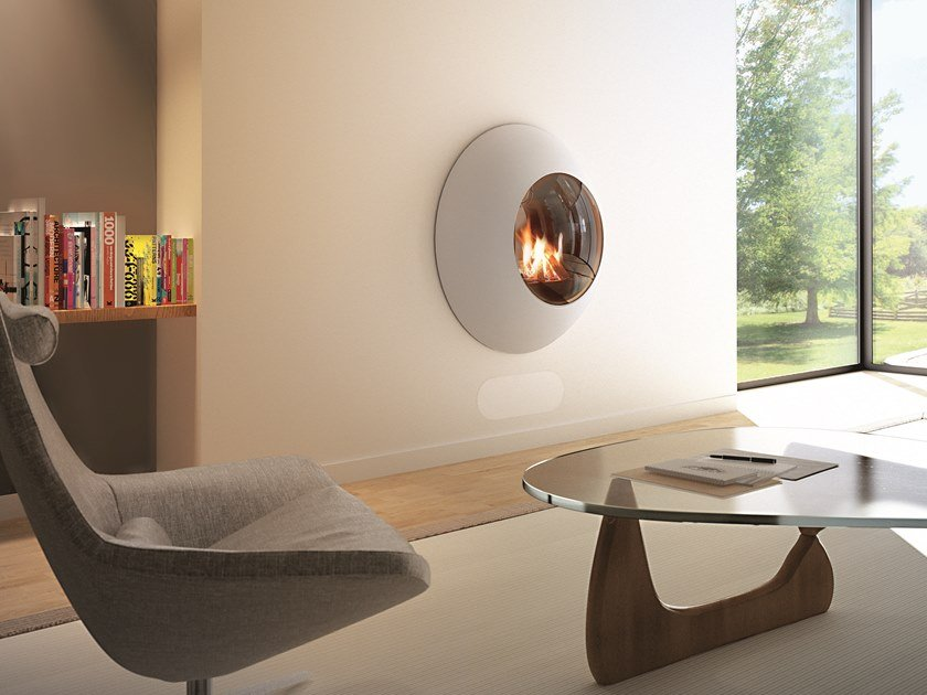 Gas wall-mounted fireplace with panoramic glass LENSFOCUS by Focus creation