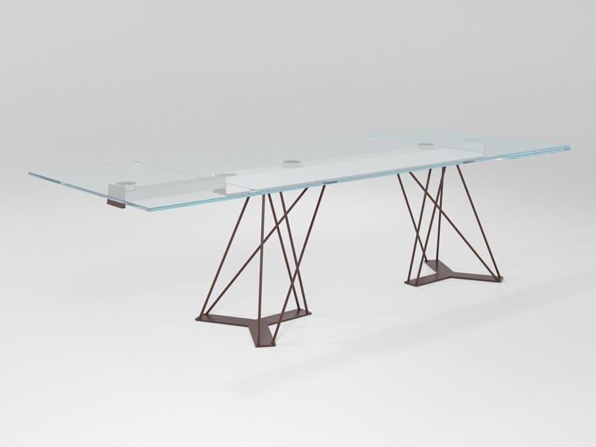 Extending rectangular crystal table LEON   Extending table by Barel