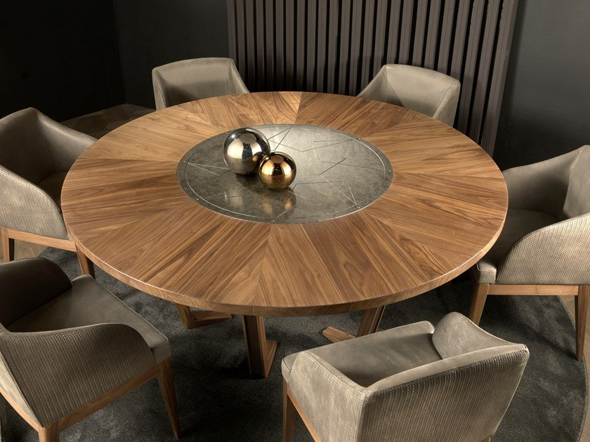 Round walnut table LEONARDO L613N | Table by Arte Brotto