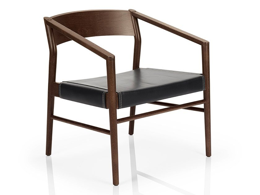 Solid wood easy chair with armrests LEONOR M927 LW by JMS