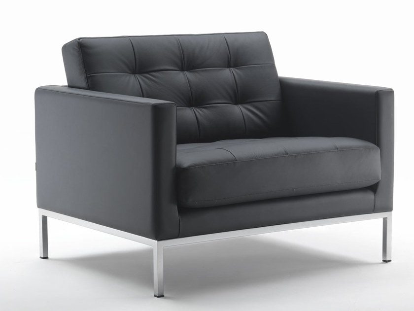 Tufted leather armchair with armrests LEWIS | Tufted armchair by Marelli