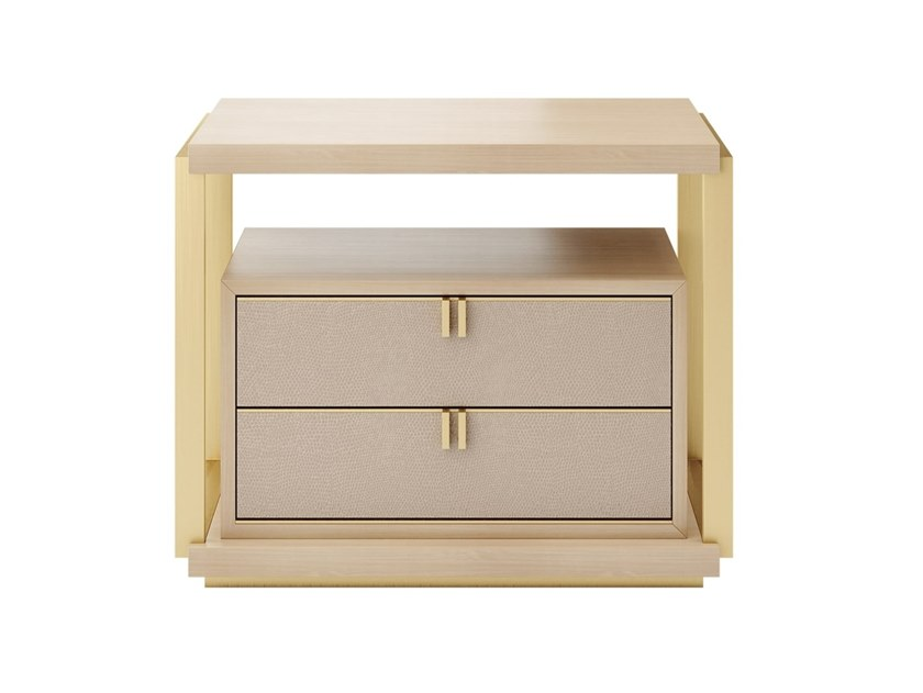 Rectangular brass bedside table with drawers LEXTON | Bedside table by FRATO