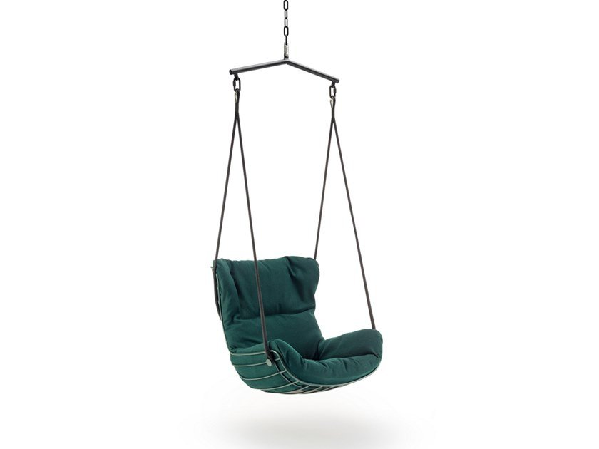 1 Seater fabric garden hanging chair LEYASOL WINGBACK SWING SEAT by Freifrau