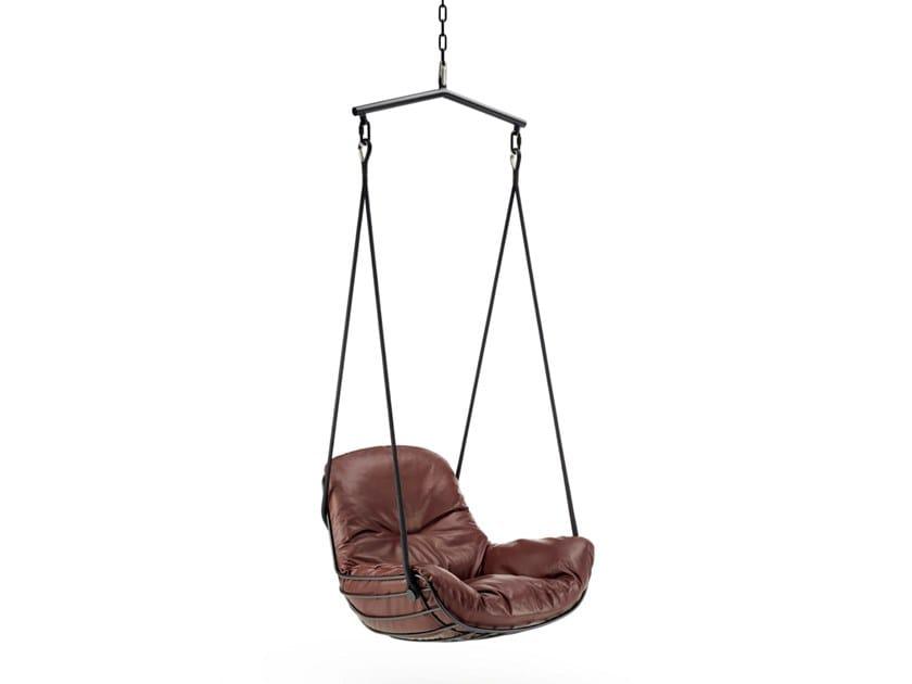 1 Seater leather garden hanging chair LEYASOL SWING SEAT by Freifrau