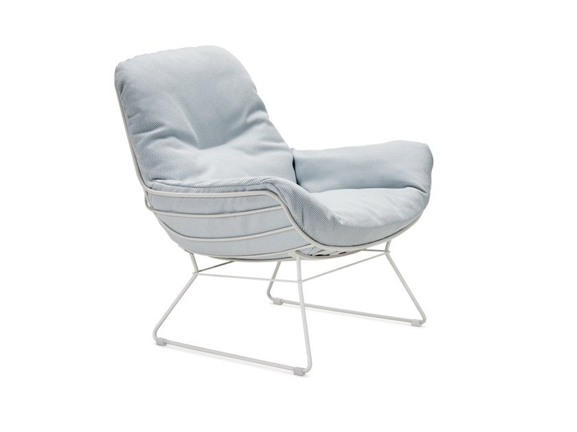 Sled base upholstered Sunbrella® garden armchair with armrests LEYASOL OUTDOOR LOUNGE by Freifrau