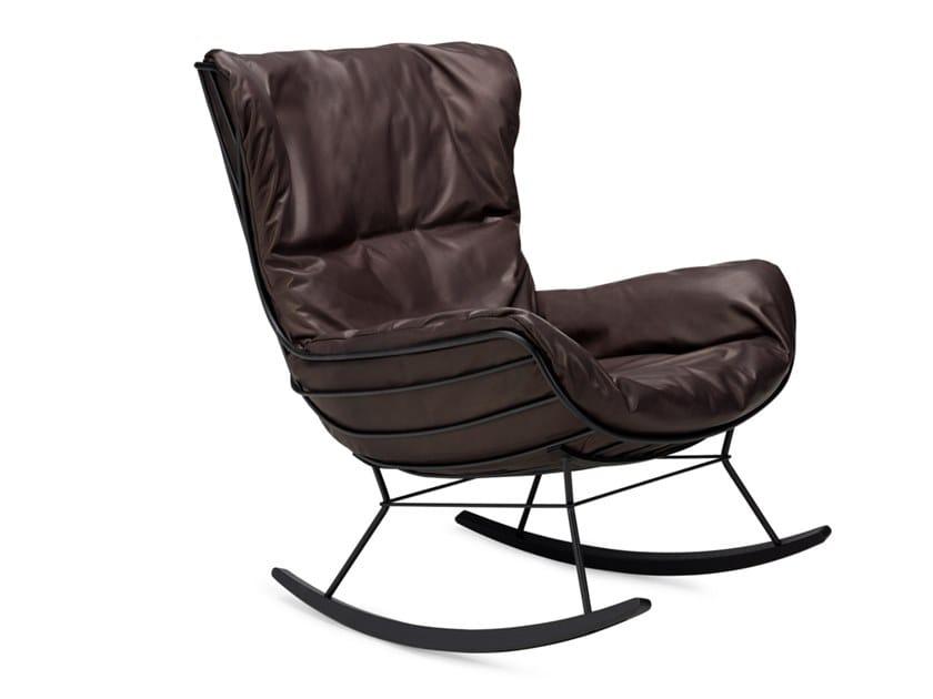 Rocking leather armchair with armrests LEYASOL   Rocking armchair by Freifrau