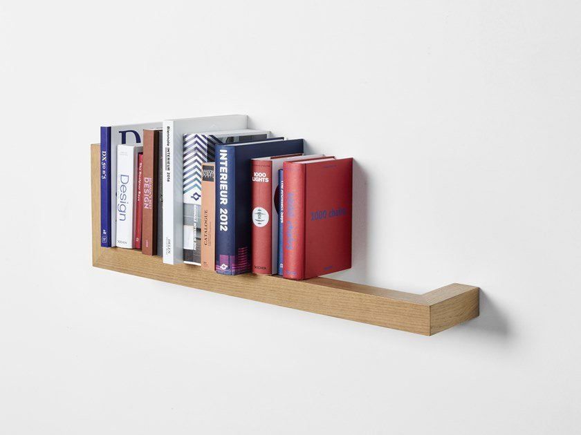 Wall-mounted floating wooden bookcase LIANA by PER-USE