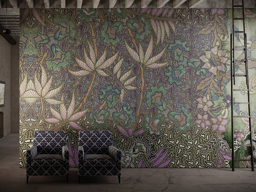 Wallpaper with floral pattern LIBECCIO by GLAMORA