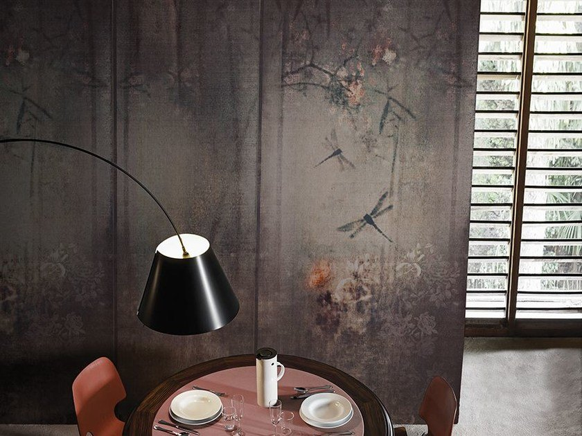 Wallpaper with floral pattern LIBELLULA by Wall&decò