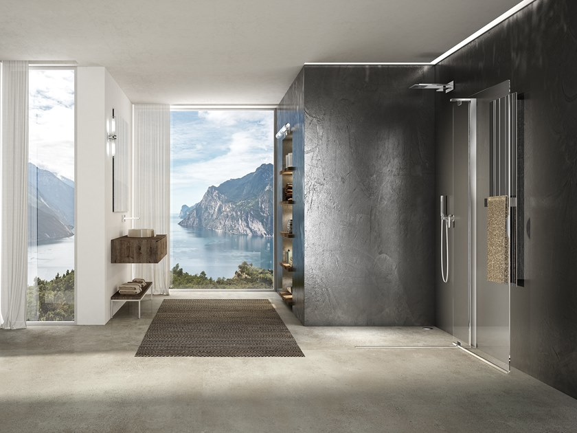 Crystal shower cabin with pivot door LIBERO 4000 - PE 6DT L/R by Duka