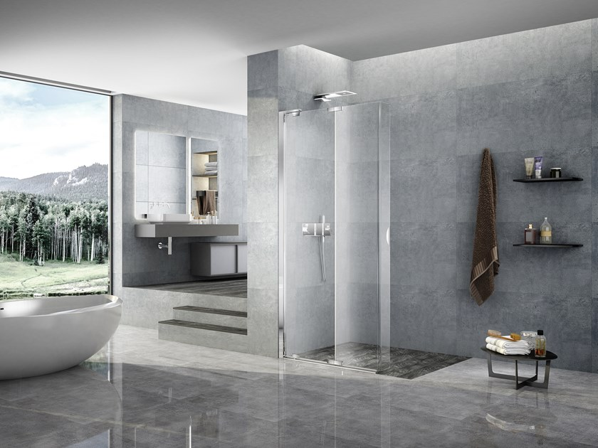 Crystal shower cabin with folding door LIBERO 4000 - PE 6FPG L/R by Duka