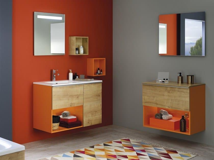 Wall-mounted melamine vanity unit LIBERTY by SANIJURA