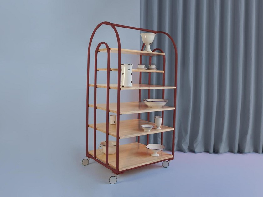 Open pine bookcase with casters ARCO | Bookcase with casters by Houtique