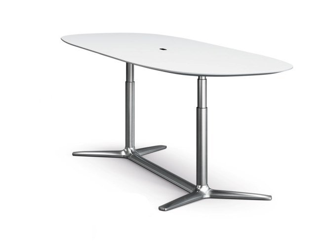 Height-adjustable oval HPL table LIFT | Oval table by Brunner